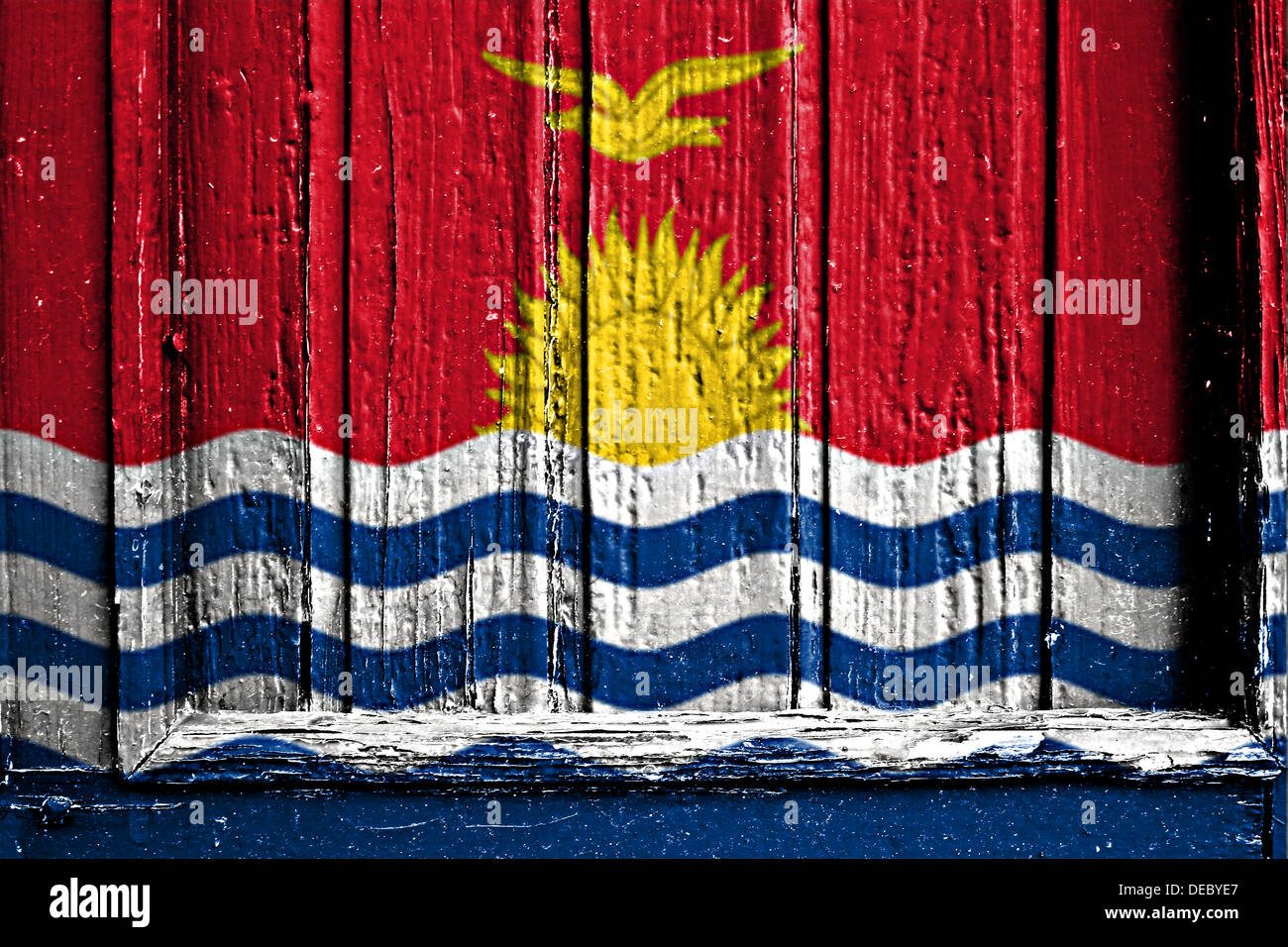 flag of Kiribati painted on a wooden frame - Stock Image