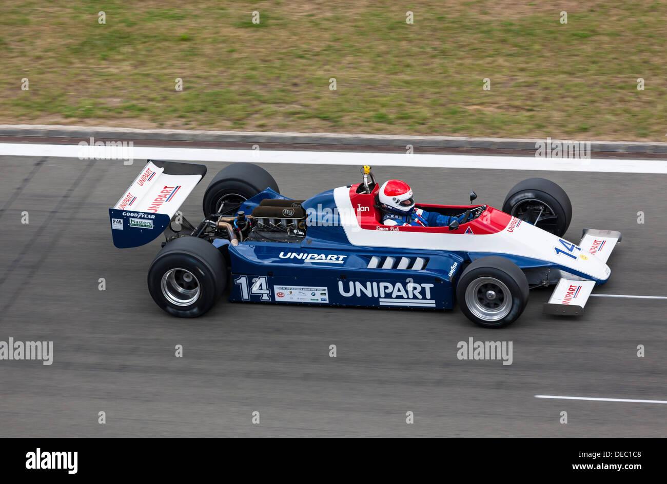 Historical Formula 1 vehicle at the Oldtimer Grand Prix 2013 on the Nuerburgring, Nürburg, Rhineland-Palatinate, Germany - Stock Image