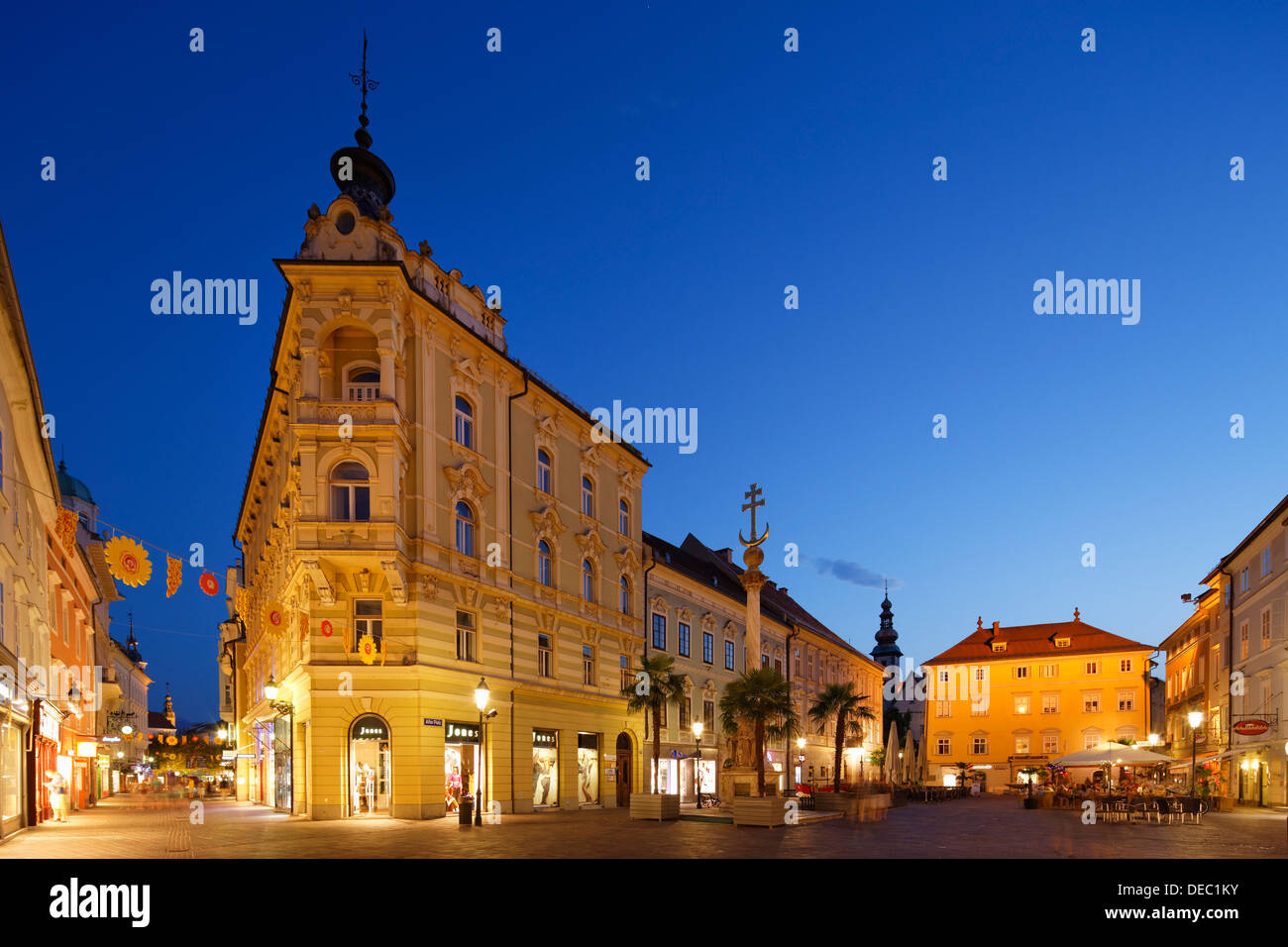 Alter Platz square, dusk, historic center, Klagenfurt, Carinthia, Austria - Stock Image