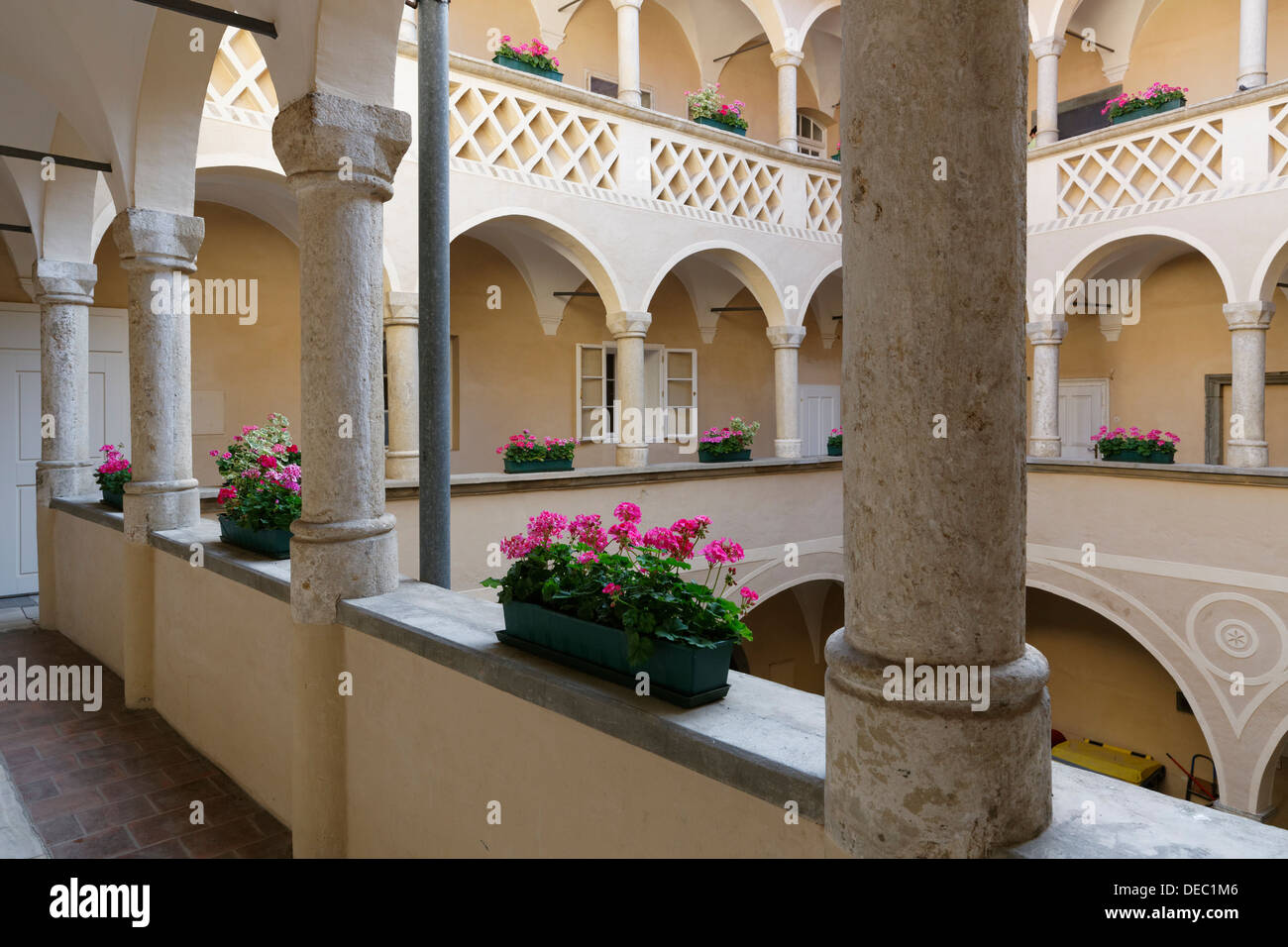 Old Town Hall, arcaded courtyard, historic center, Klagenfurt, Carinthia, Austria - Stock Image