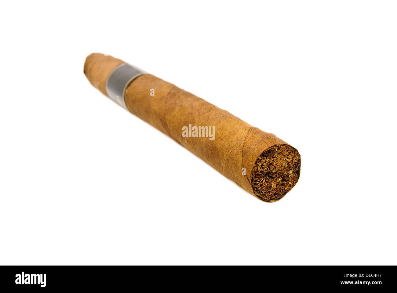 Luxury cigar isolated over white - Stock Image
