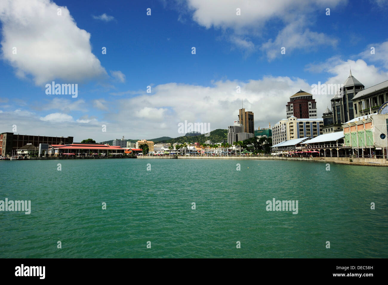 Cityscape of Port Louis, from the water, Port Louis, Mauritius Stock Photo