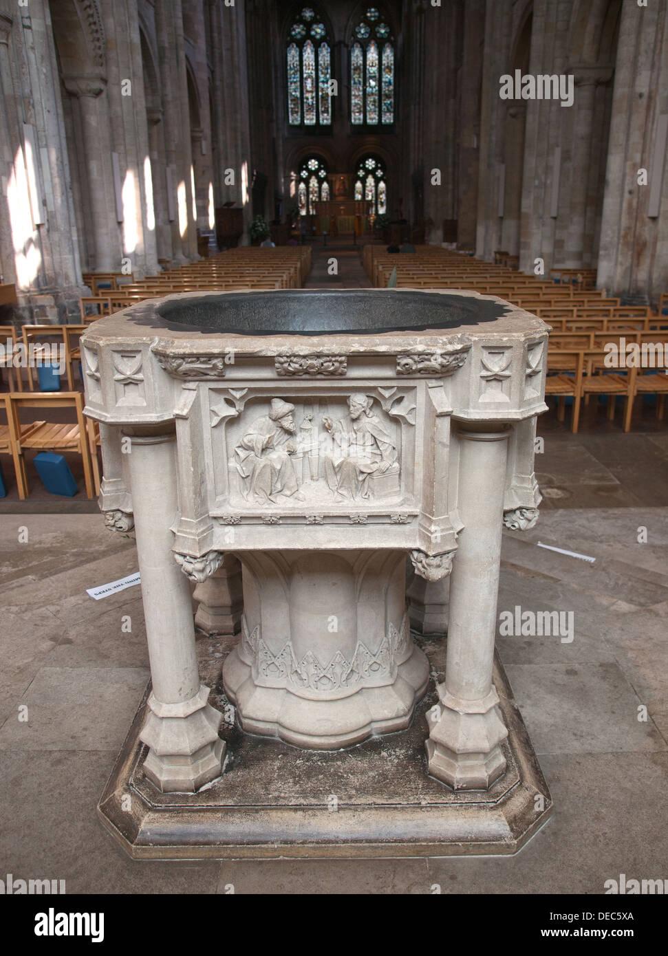 Large Font Romsey Abbey Hampshire England UK - Stock Image