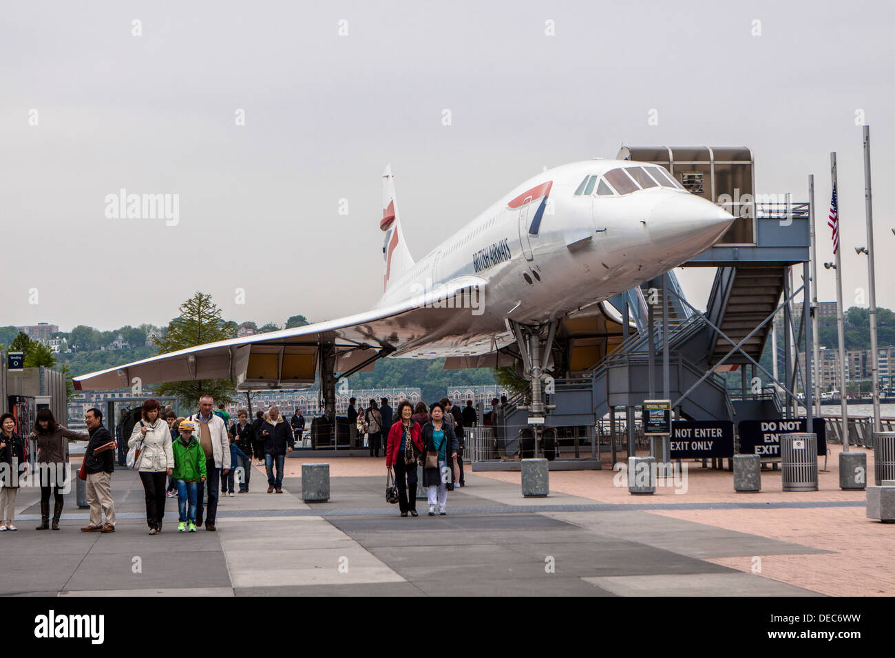 British Airways Concorde supersonic jet at the Intrepid Sea, Air & Space Museum - Stock Image