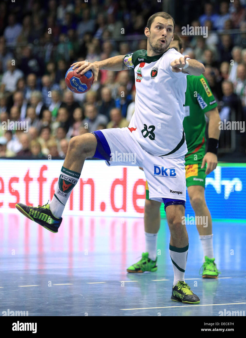 Berlin'sFrederik Petersen in action during the Bundesliga handball match between SC Magdeburg and Fuechse Berlin at Getec-Arena in Magdeburg, Germany, 15 September 2013. Photo:JENS WOLF - Stock Image