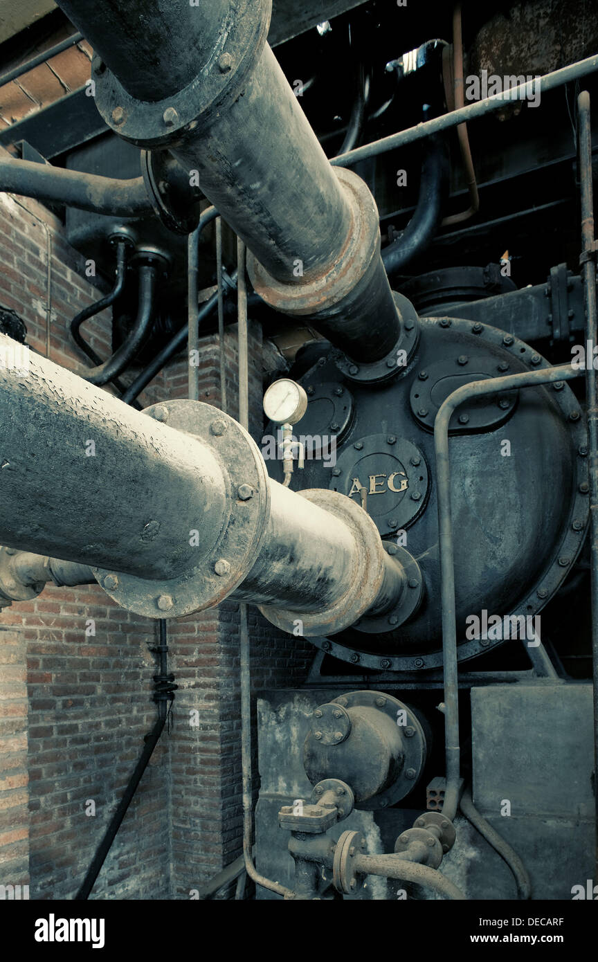 Thermal power station of the early 20th century, Barcelona, Catalonia, Spain - Stock Image