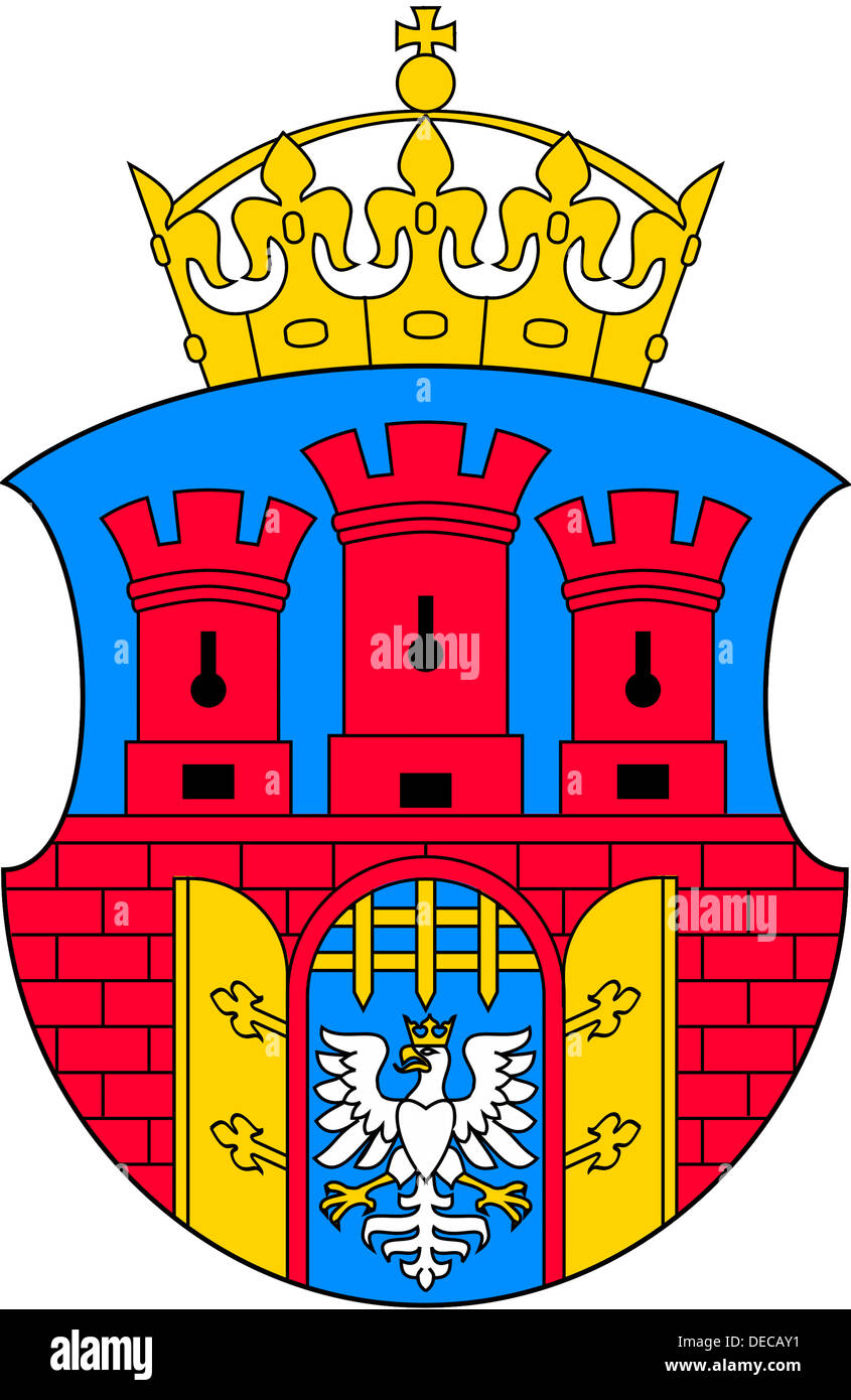 Coat of arms of the Polish city of Krakow. - Stock Image