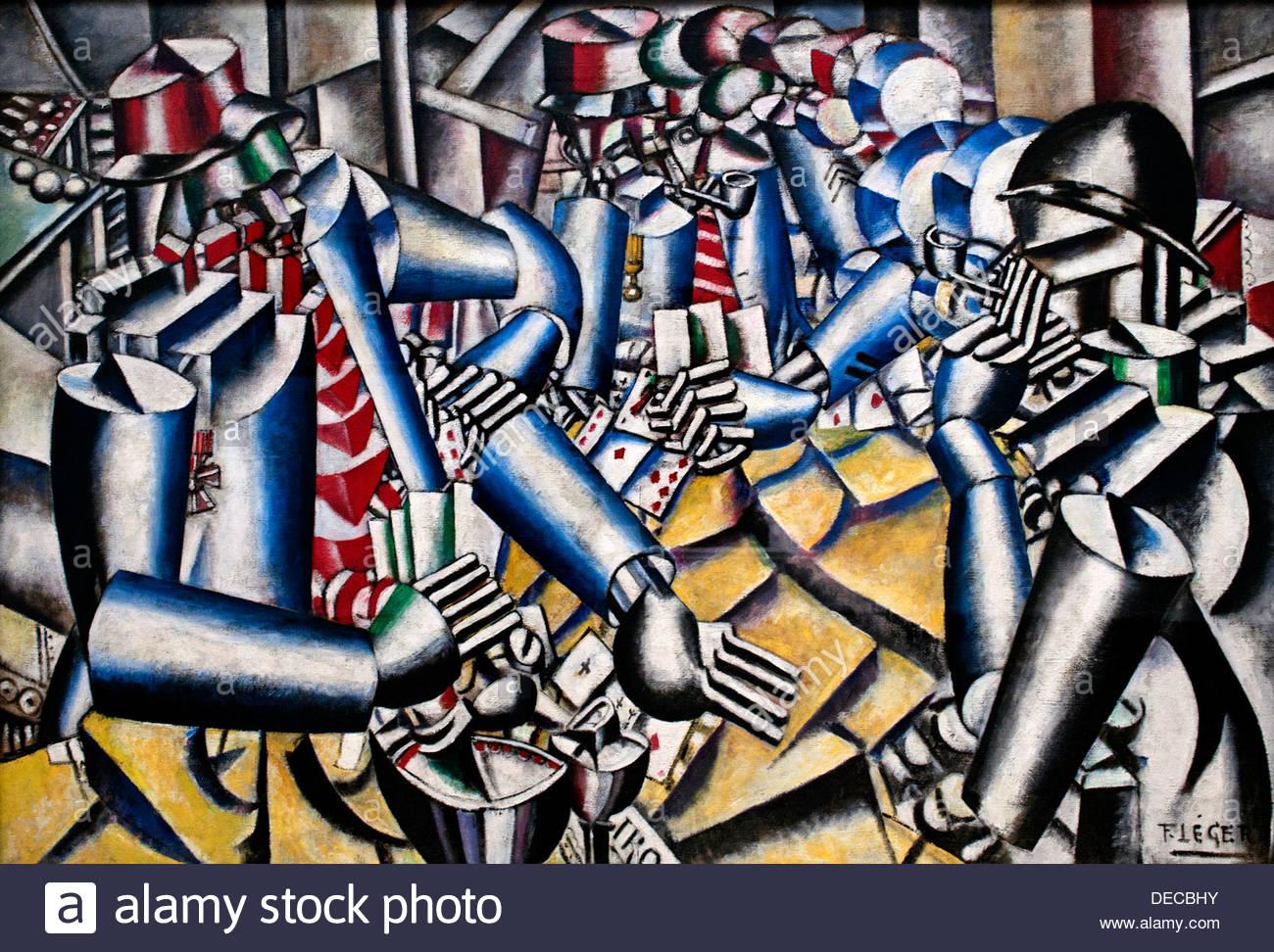 la partie de carte Soldiers playing cards   La Partie de cartes 1917 Fernand Léger