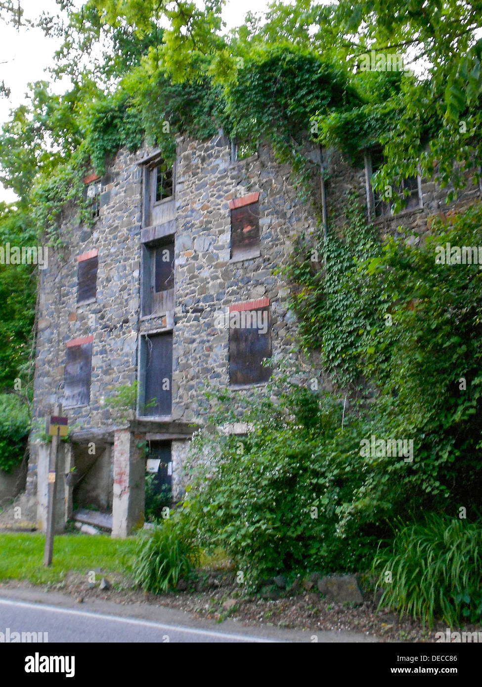 Mill on Franklintown Road in the Franklintown Historic District which was listed on the NRHP on November 11, 2001. - Stock Image