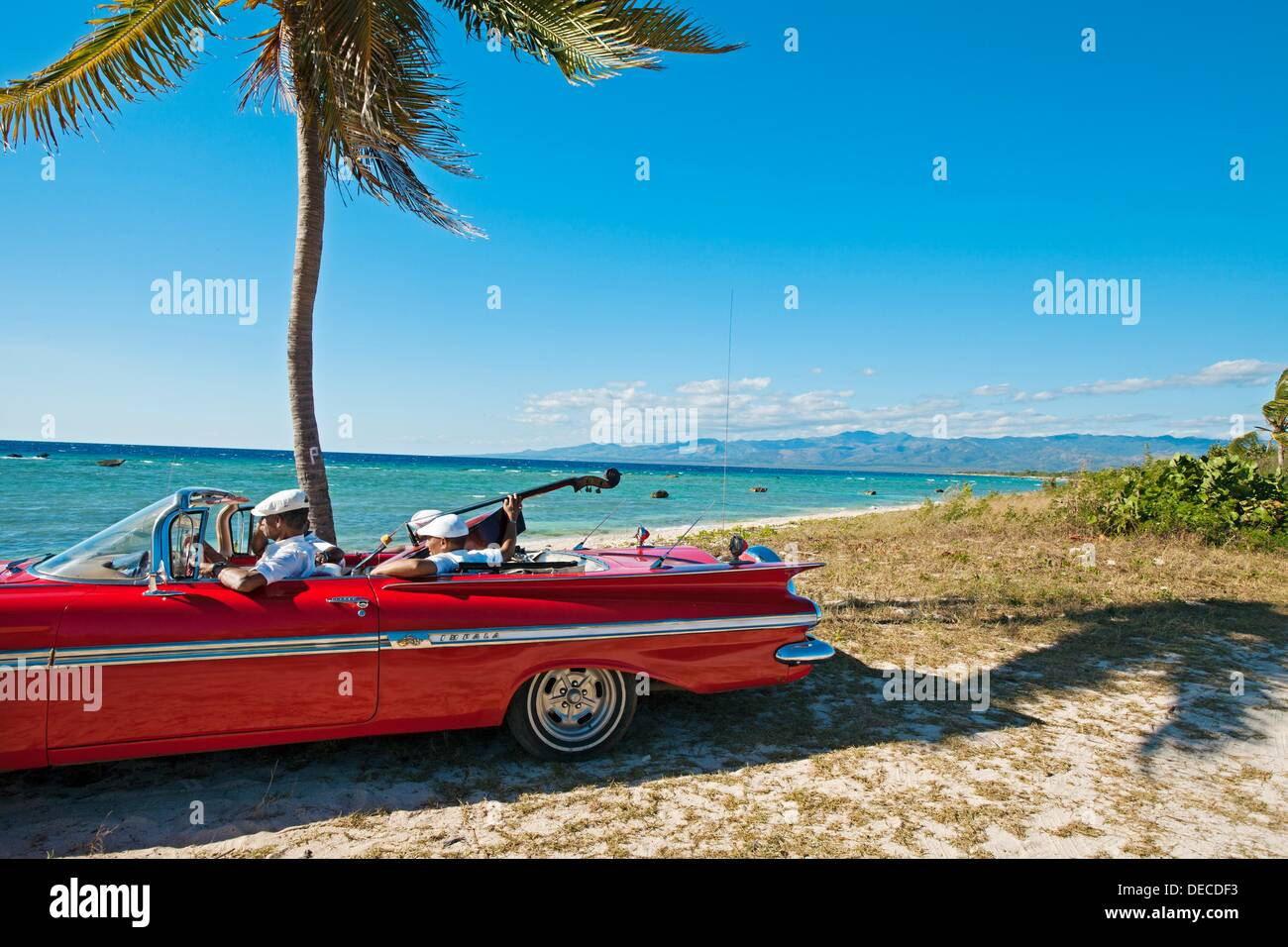 Ancon Beach Classic Car And Music Band Trinidad City Sancti Spiritus Province