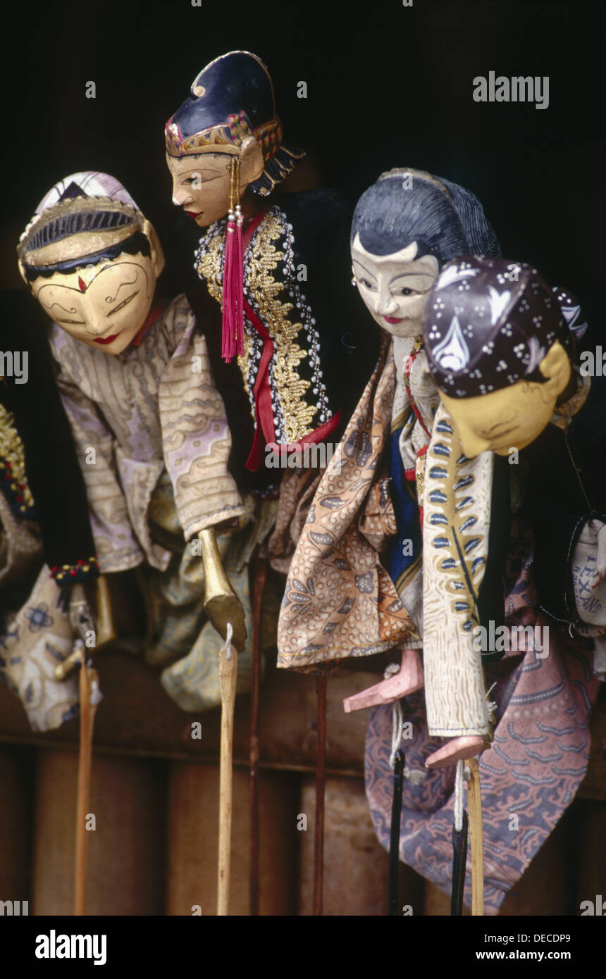 Javanese three-dimensional wooden puppets used in Wayang Golek (classical puppet drama). Yogyakarta. Java. Indonesia - Stock Image