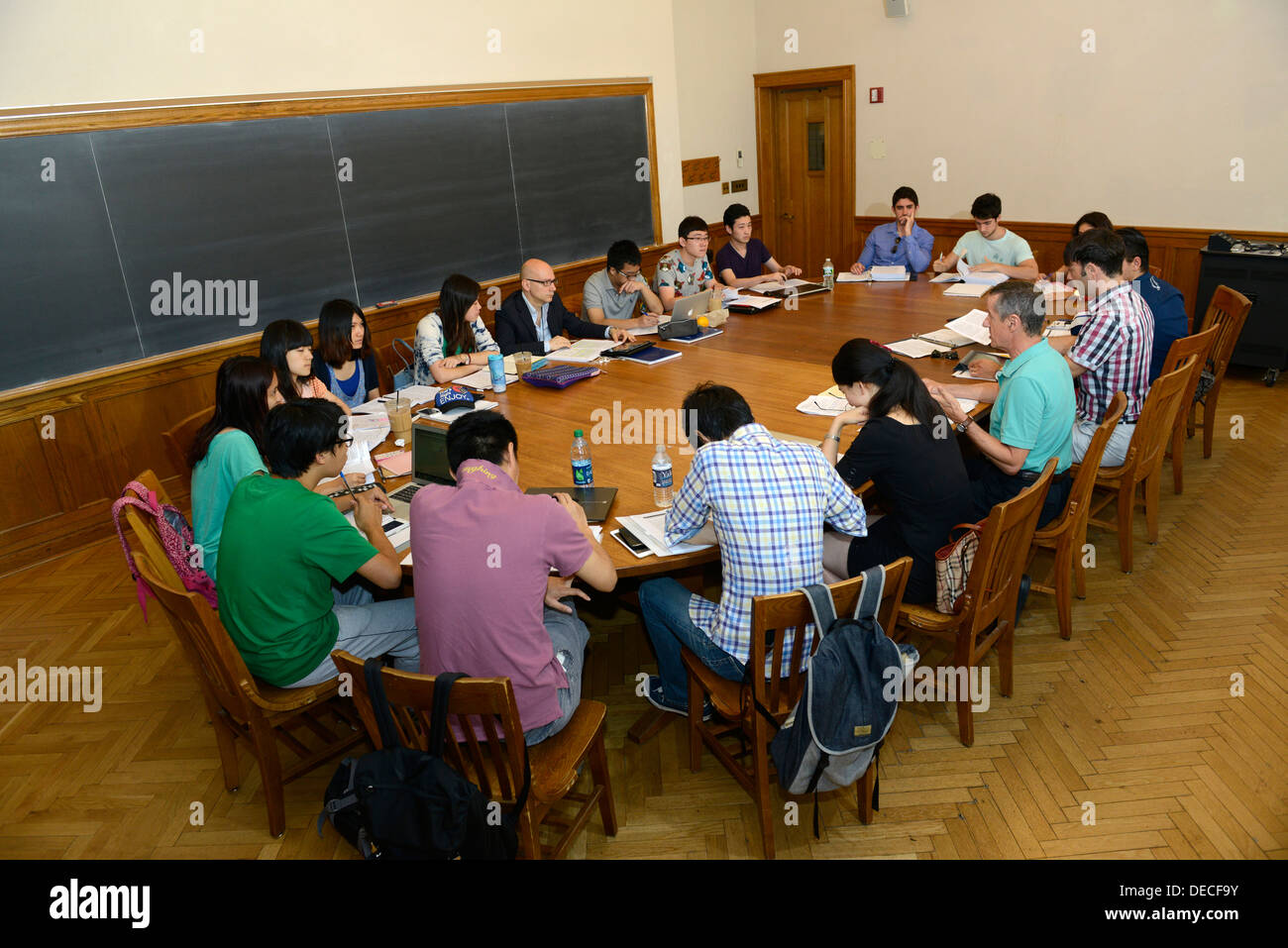 Business seminar for young foreign professionals interested in learning more about international business at Yale Summer School. - Stock Image