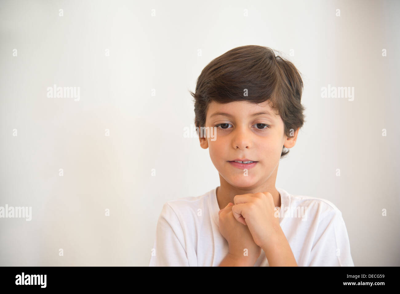 boy, kid, schoolboy, expecting, expectation, excitement, waiting for, surprise, childish,  dreaming, waiting for, happy, - Stock Image