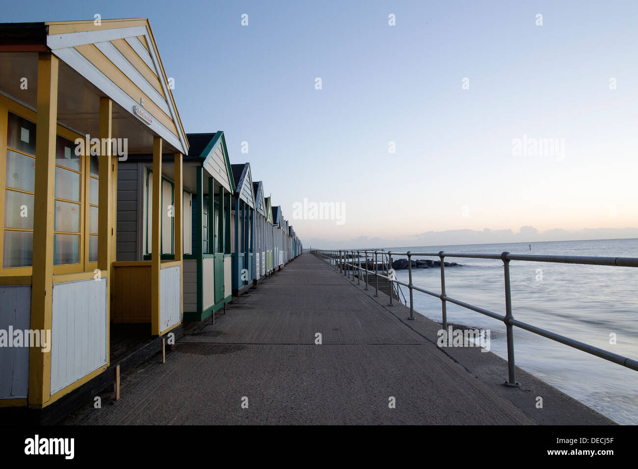 row of beach huts in Southwold Suffolk - Stock Image