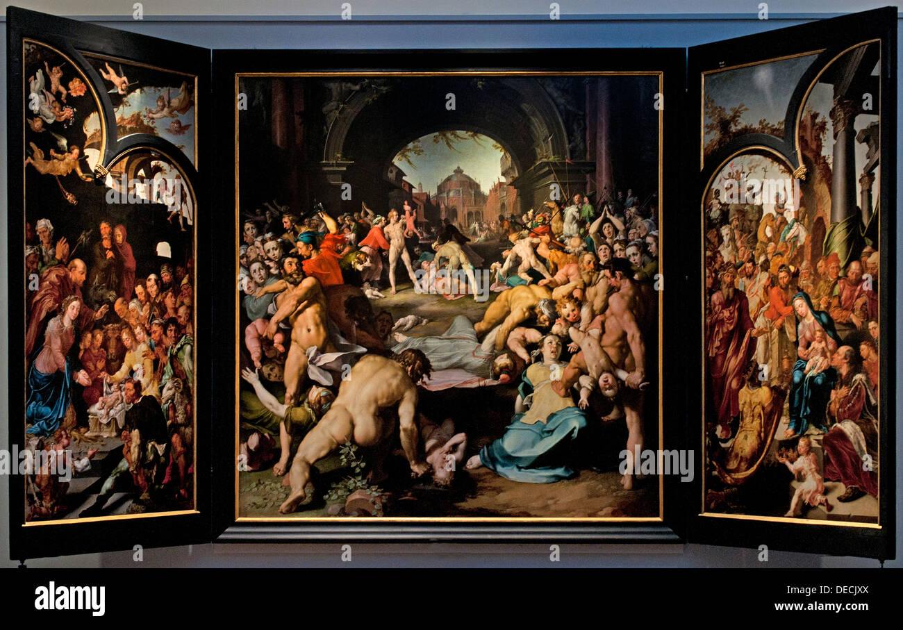 The massacre of the innocents at Bethlehem 1591 Cornelis Cornelisz van Haarlem 1562 - 1638  Dutch Netherlands Stock Photo