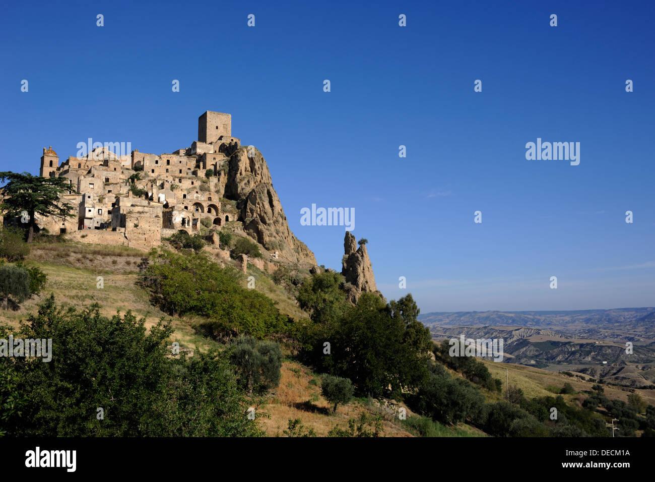 italy, basilicata, craco abandoned village - Stock Image