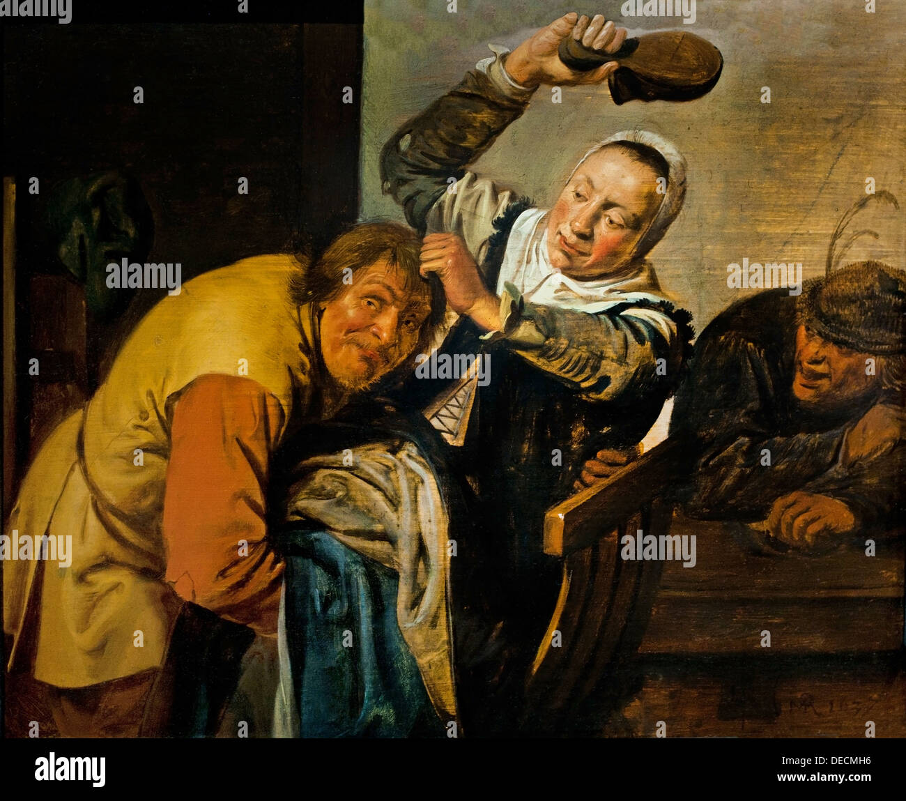 The Five Senses Touch Sight Hearing Smell Taste Jan Miense Molenaer 1610 -1668  Dutch Netherlands - Stock Image