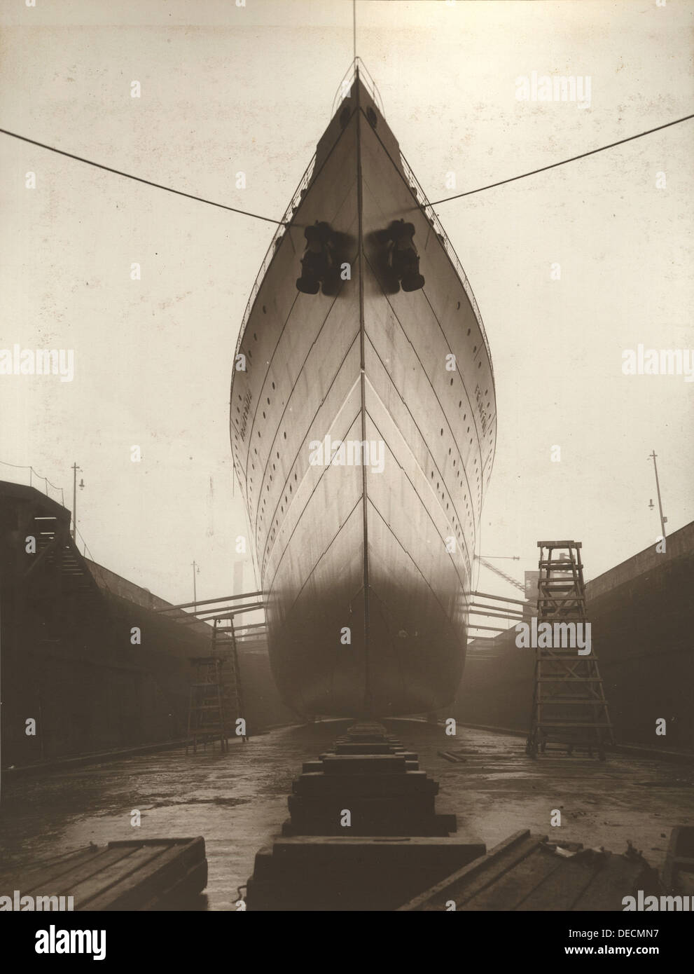 RMS Franconia, which was launched in 1910 and sunk on October 4, 1915. - Stock Image