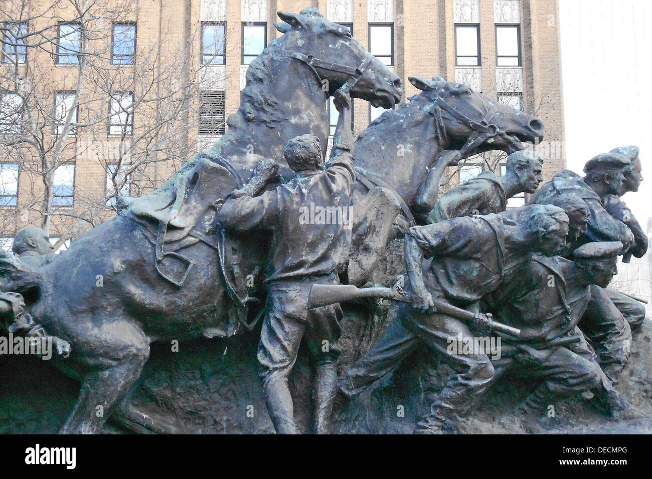 statue 'Wars of America' by Gutzon Borglum in Military Park, Newark, New Jersey - Stock Image
