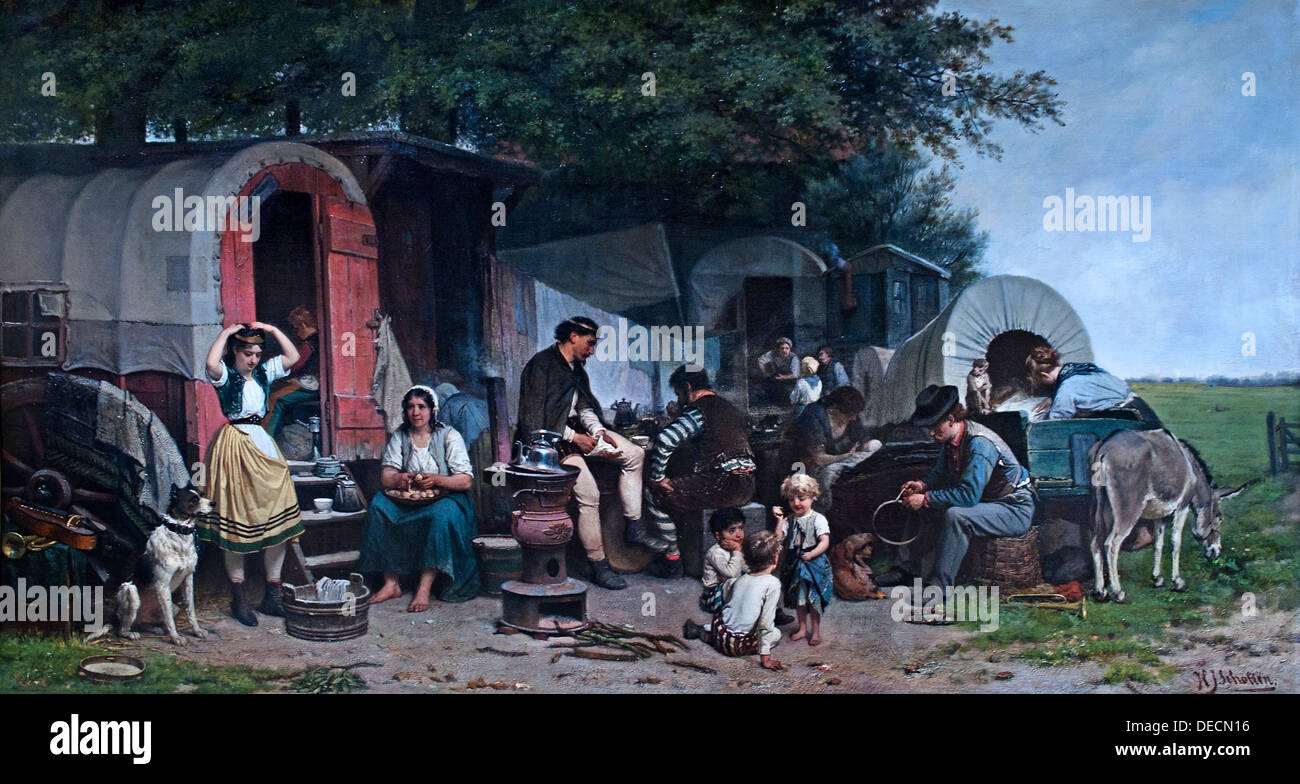 Kermisgasten - Fair guests 1870 Hendrik Jacobus Scholten 1824-1907   Dutch Netherlands - Stock Image