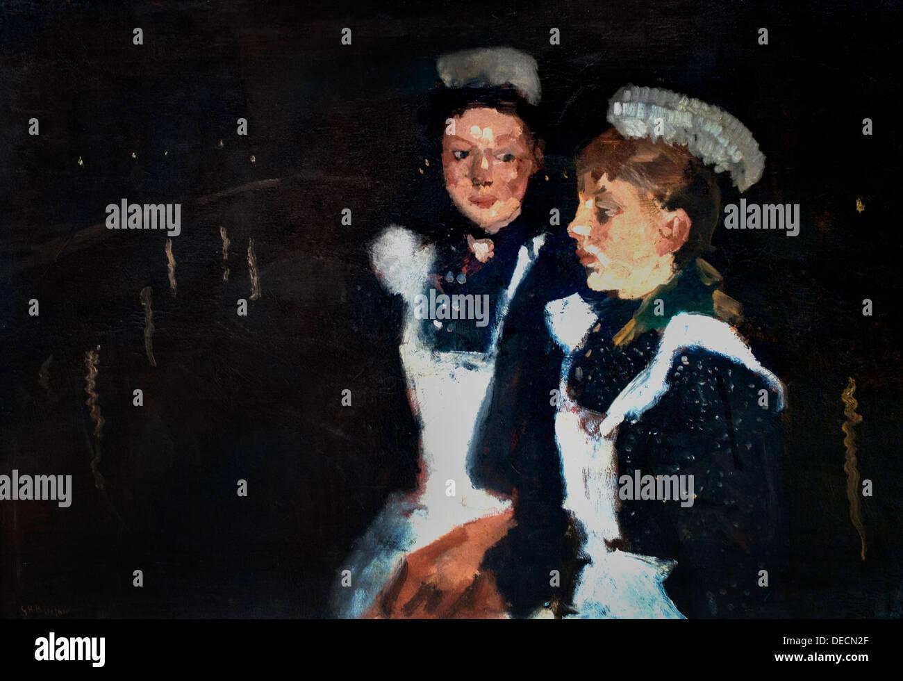 Two servants on an Amsterdam bridge at night 1890 George Hendrik Breitner 1857 - 1923    Dutch Netherlands - Stock Image
