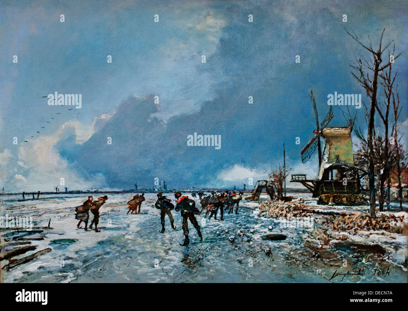 Wintergezicht met schaatsers - Winter view with skaters 1864 Johan Barthold Jongkind 1819-1891   Dutch Netherlands - Stock Image