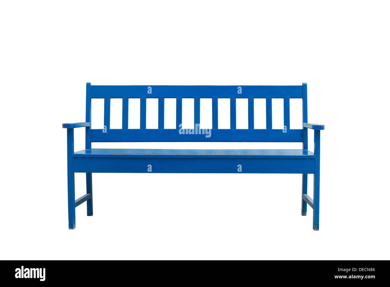Blue wooden bench Isolate on white. - Stock Image