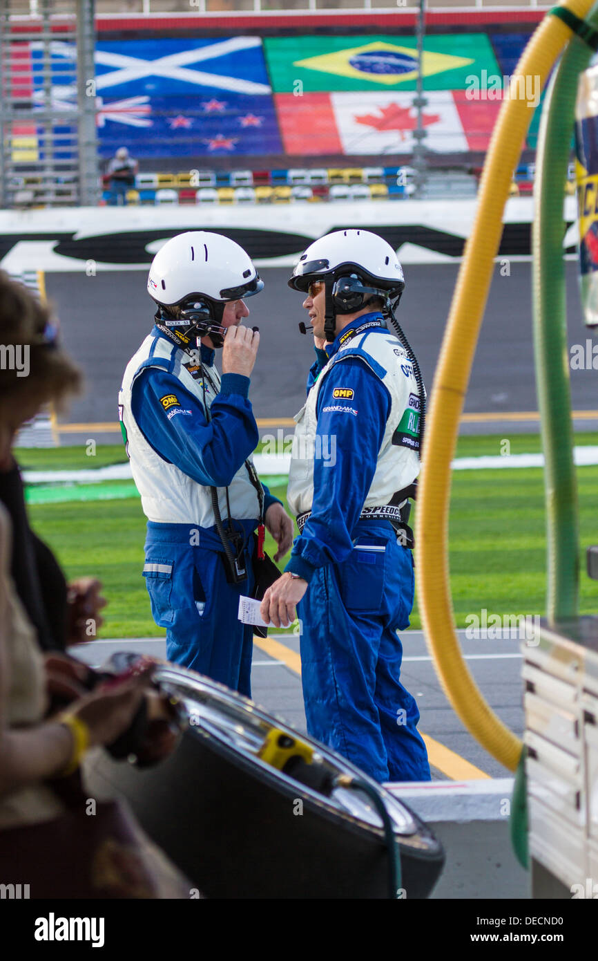 Grand Am officials talking in pit area at Daytona International Speedway during the 2012 Rolex 24 at Daytona, Florida - Stock Image