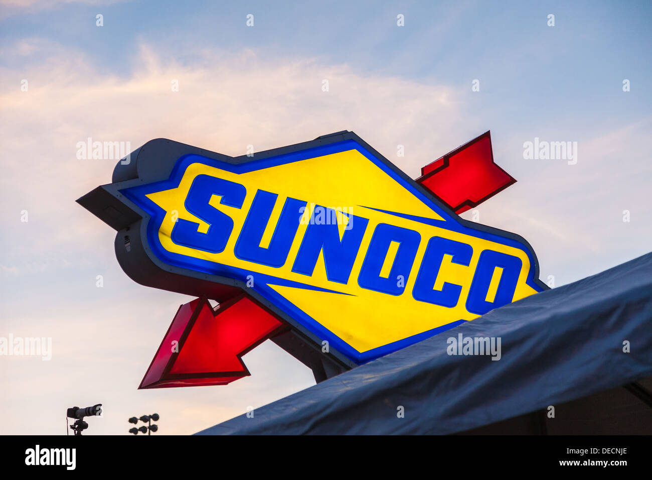 Sunoco fuel sign at Daytona International Speedway during the 2012 Rolex 24 at Daytona, Florida - Stock Image