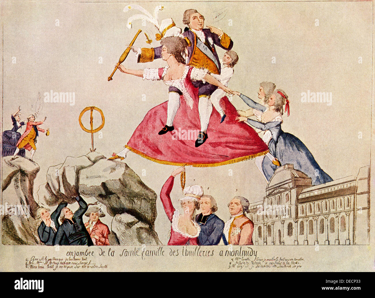 Caricature of French King Louis XVI and his son riding on the back of Marie Antoinette, 1792. Color lithograph - Stock Image