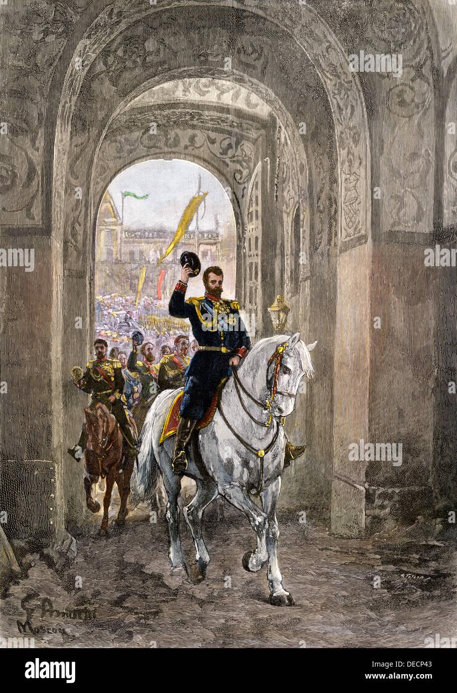 Czar Nicholas II entering the Kremlin gate for his coronation, 1896. Hand-colored woodcut - Stock Image