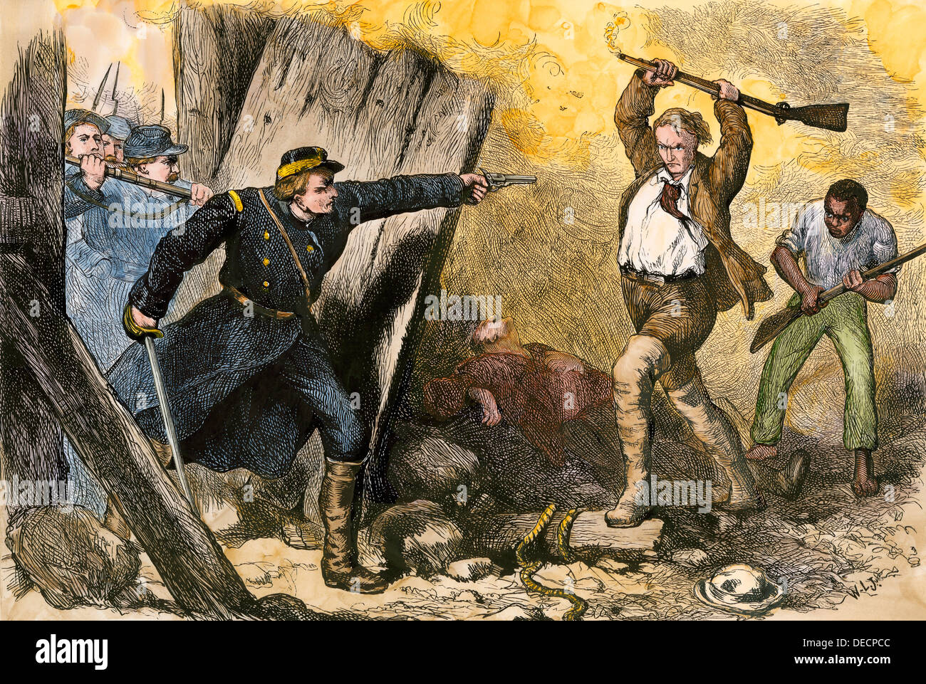 Capture of John Brown in his barricade in Harper's Ferry, West Virginia, 1859. Hand-colored woodcut - Stock Image