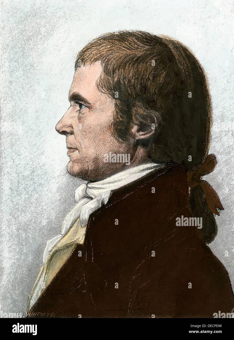 John Marshall. Hand-colored woodcut of a portrait by Saint Memin - Stock Image