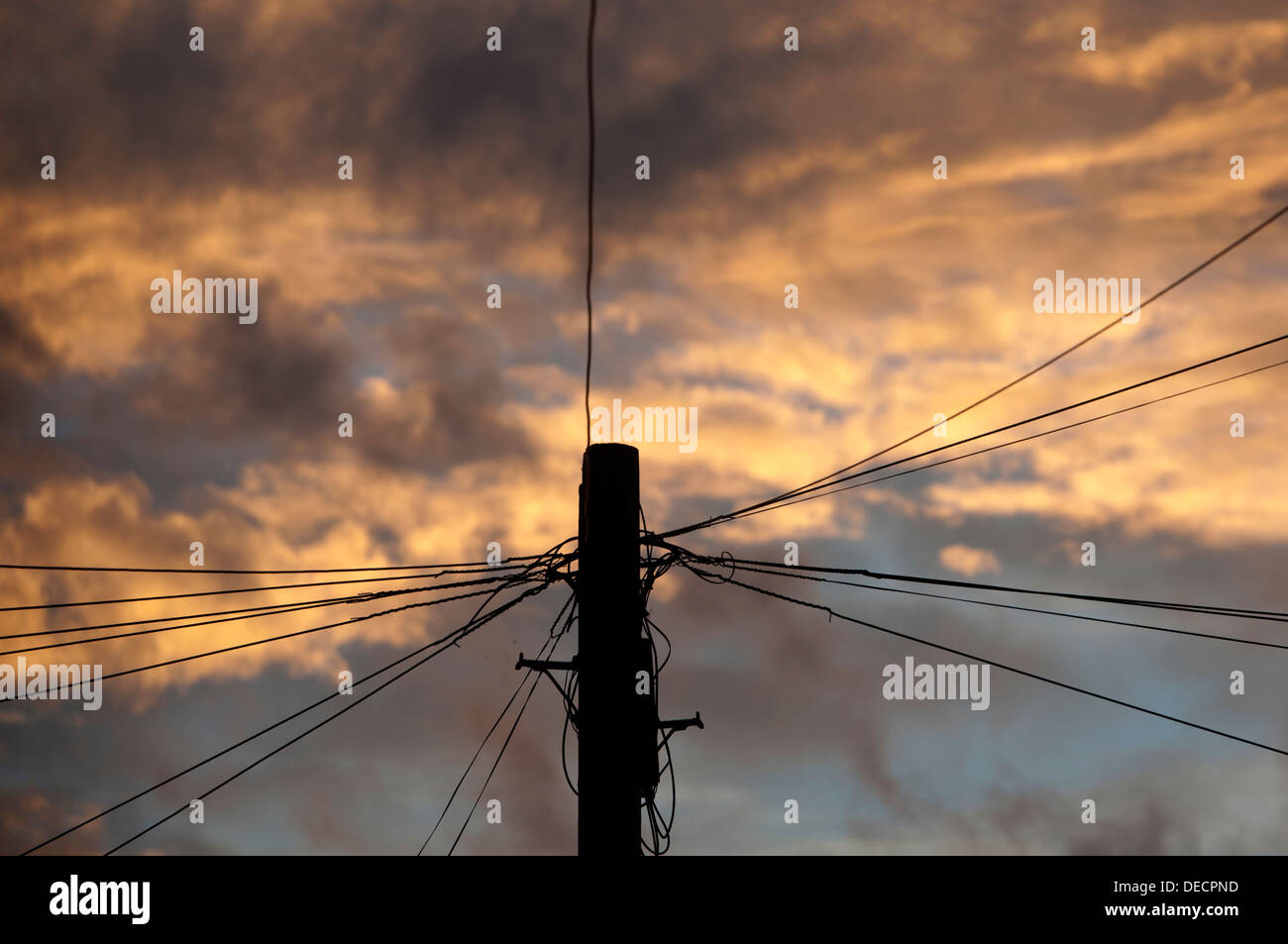 Telephone wires radiating from a pole, UK - Stock Image