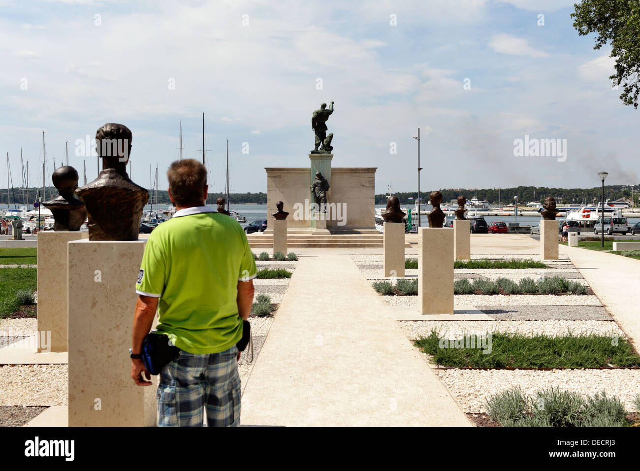 Pola, Croatia, the busts of famous personalities and monuments in the park Titov - Stock Image