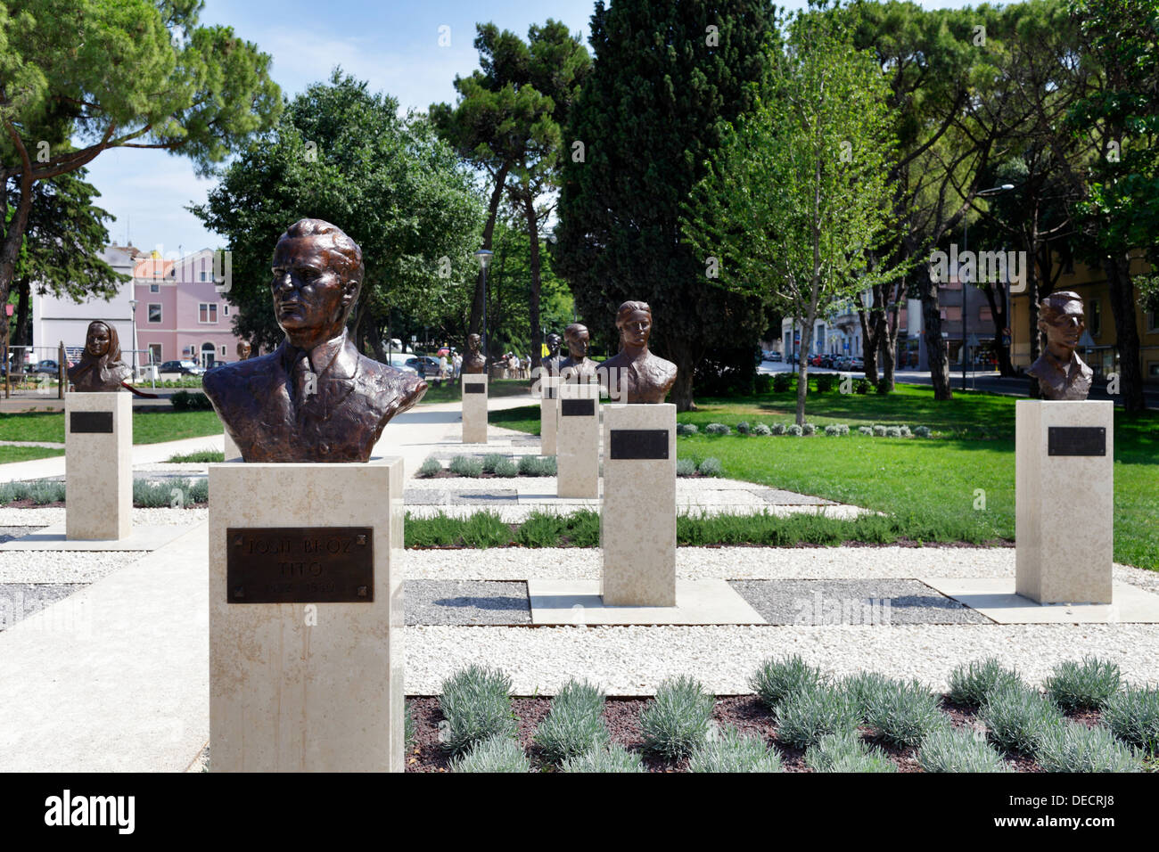 Pola, Croatia, the bust of Tito and other well-known personalities in Pula - Stock Image