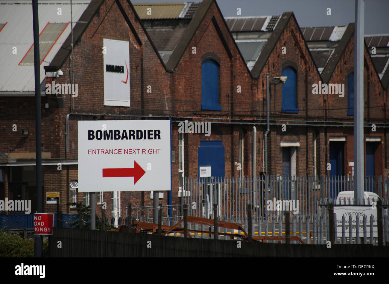 Bombardier - derby litchurch lane works. Train factory in derby - Stock Image