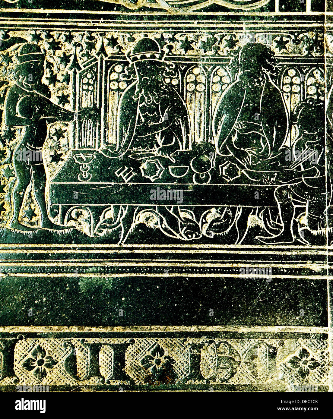 The Peacock Feast for King Edward 3rd, in 1349, detail from brass to Robert Braunche, St. Margaret's Church, Kings Lynn - Stock Image