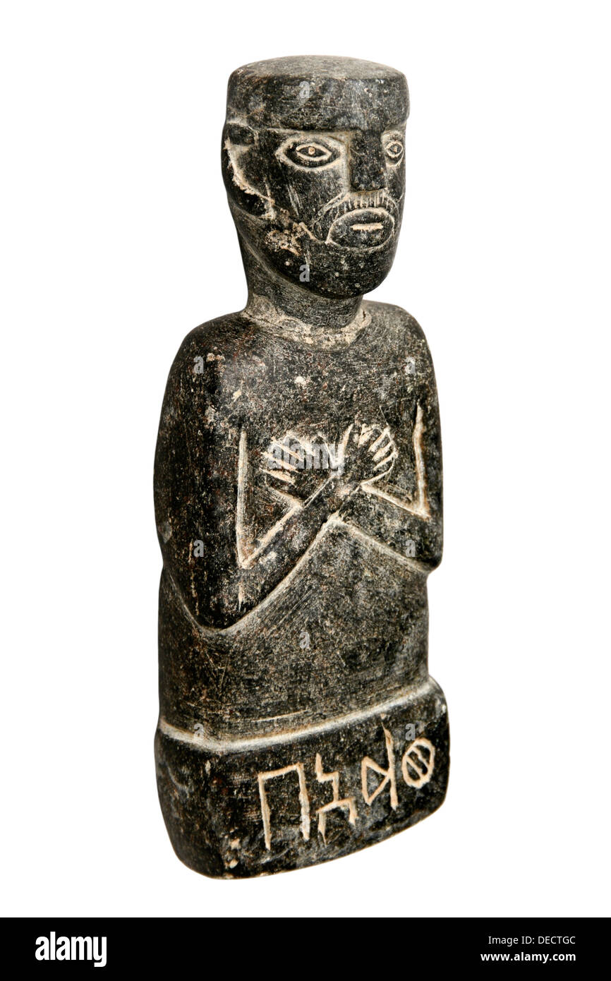 Ancient carved statue excavated in Yemen - Stock Image