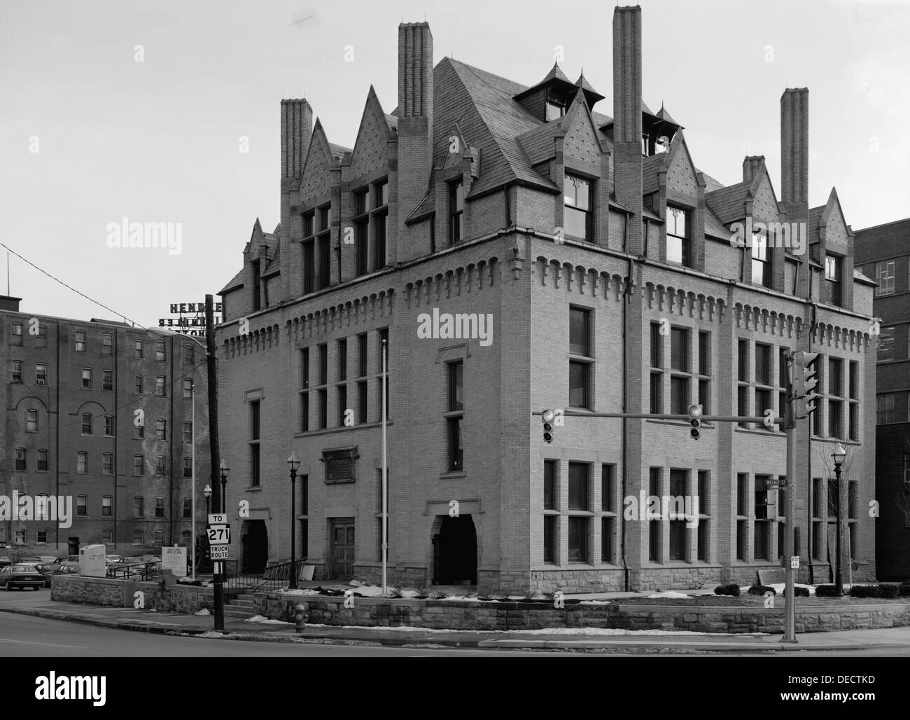 The very first Carnegie Library, built in 1889 after the Great Johnstown Flood. On the NRHP since 1972 at 304 Washington St., Johnstown, Pennsylvania. Now the site of the Johnstown Flood Museum - Stock Image