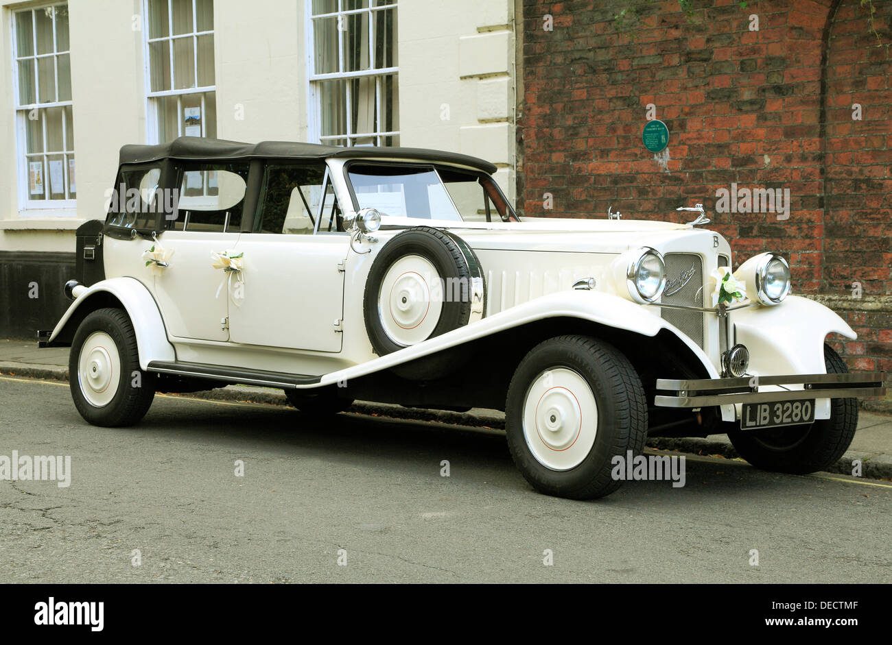 Vintage wedding bridal car automobile, Beauford automobiles cars - Stock Image