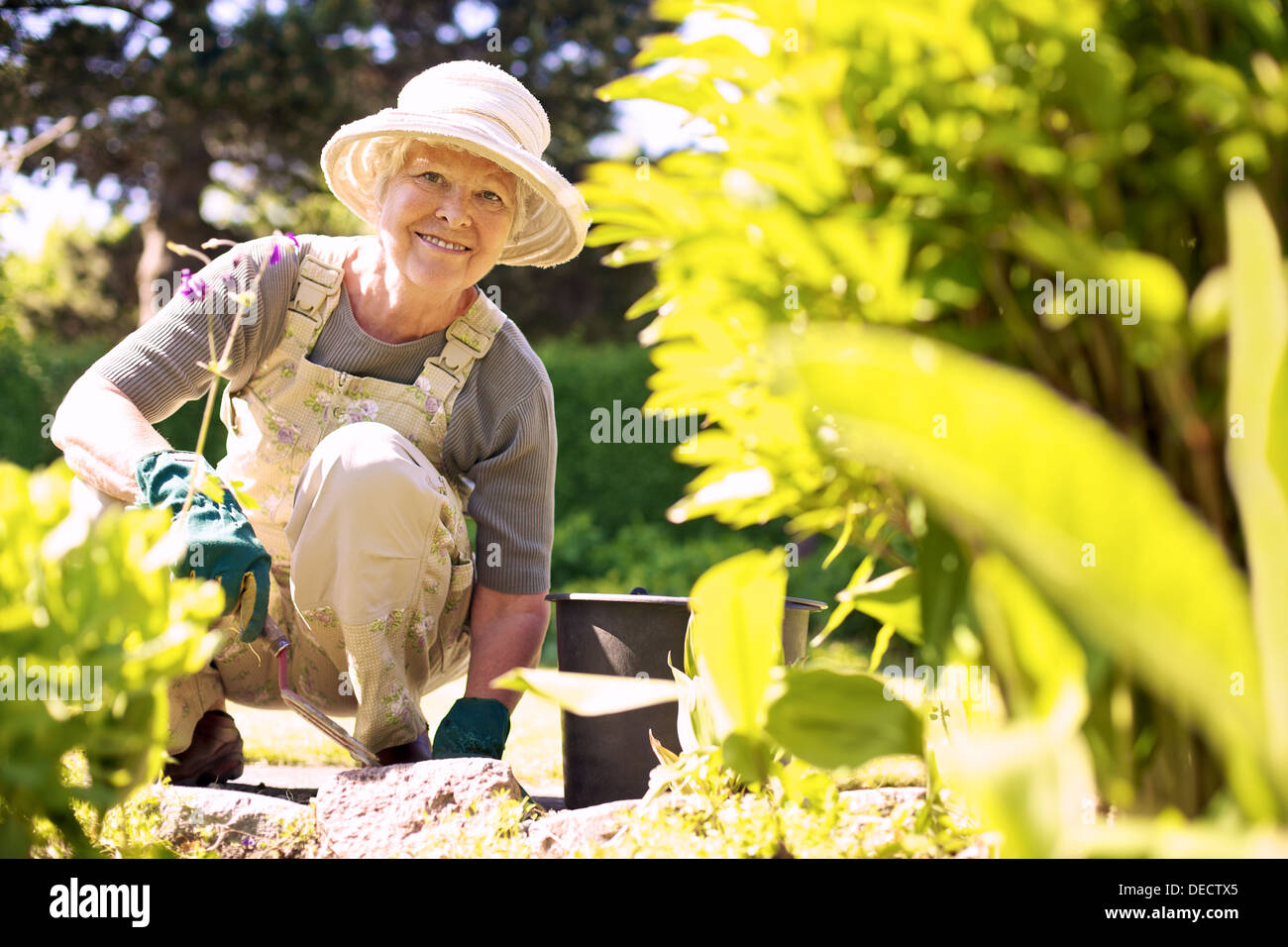 Happy elder woman with gardening tool working in her backyard garden - Stock Image