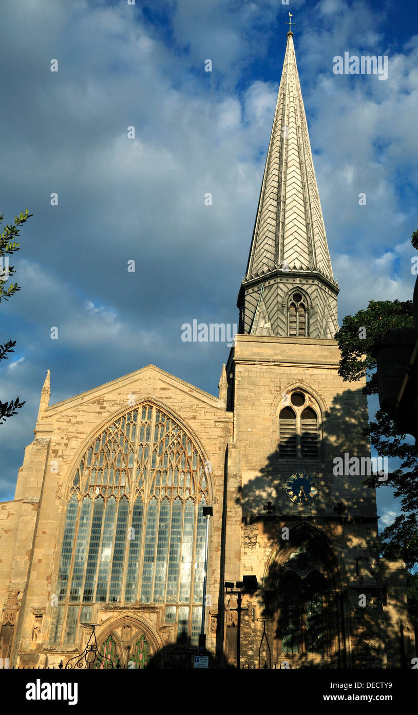 Kings Lynn, St. Nicholas' Chapel, tower and spire Norfolk, England, UK English chapels, church churches spires, west window - Stock Image