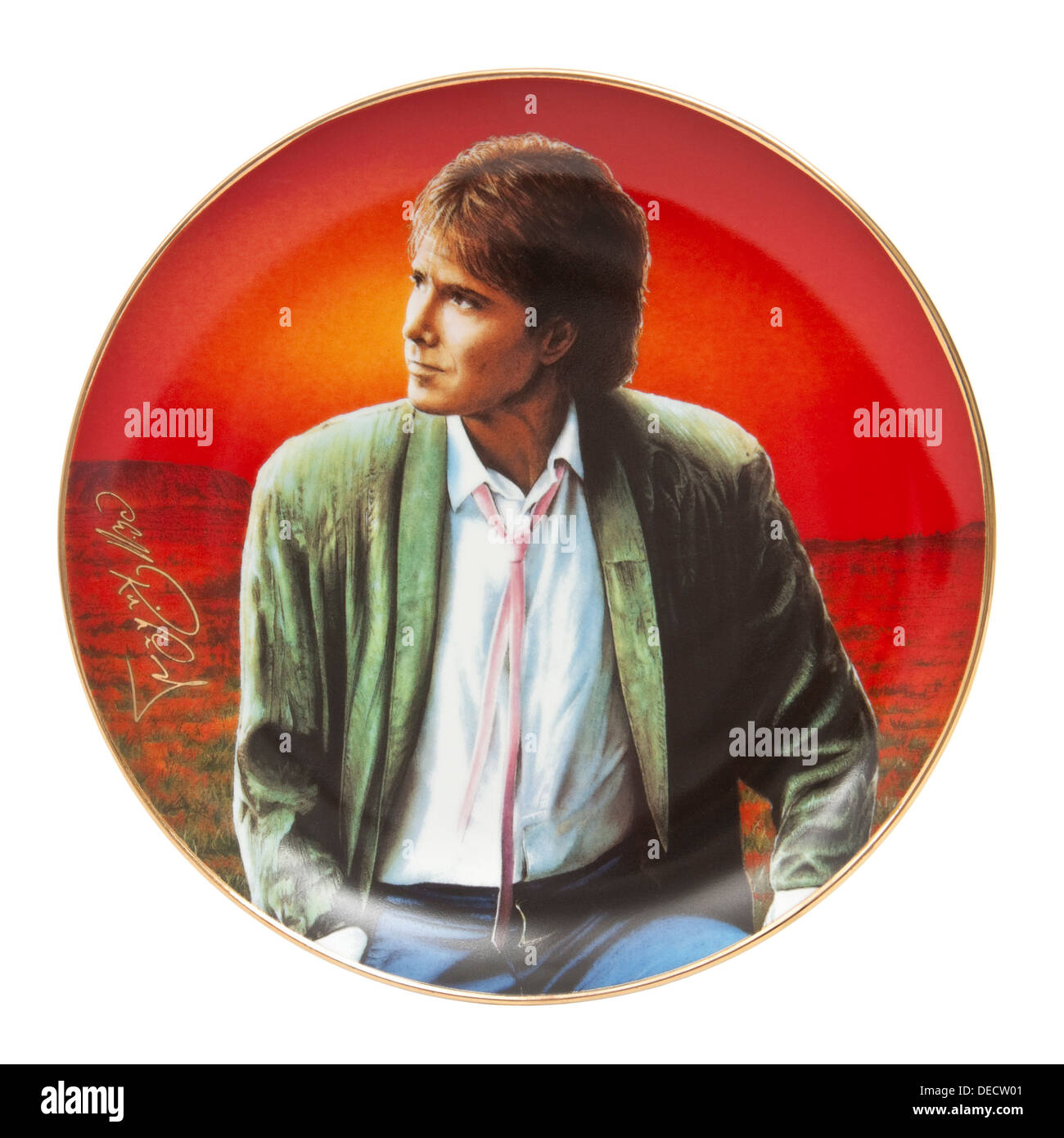'On Reflection' from the 'Forty Glorious Years' series of 12 porcelain plates of Cliff Richard by Simon Mendez. - Stock Image