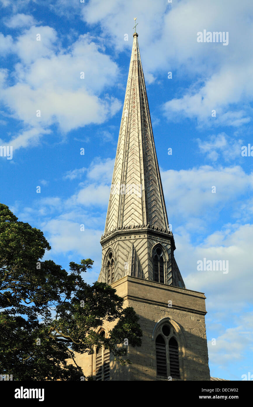 Kings Lynn, St. Nicholas' Chapel, tower and spire Norfolk, England, UK English chapels, church churches spires - Stock Image