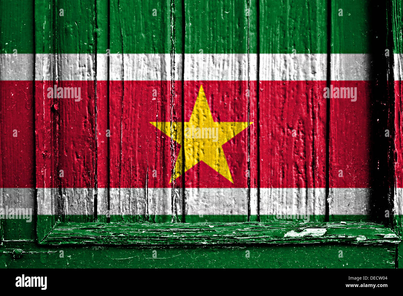 flag of Suriname painted on a wooden frame - Stock Image