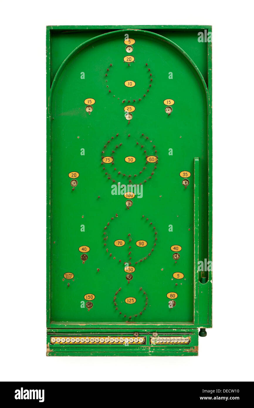Vintage 1940's wooden bagatelle game by Chad Valley, the forerunner of pinball and pachinko as we know them today Stock Photo