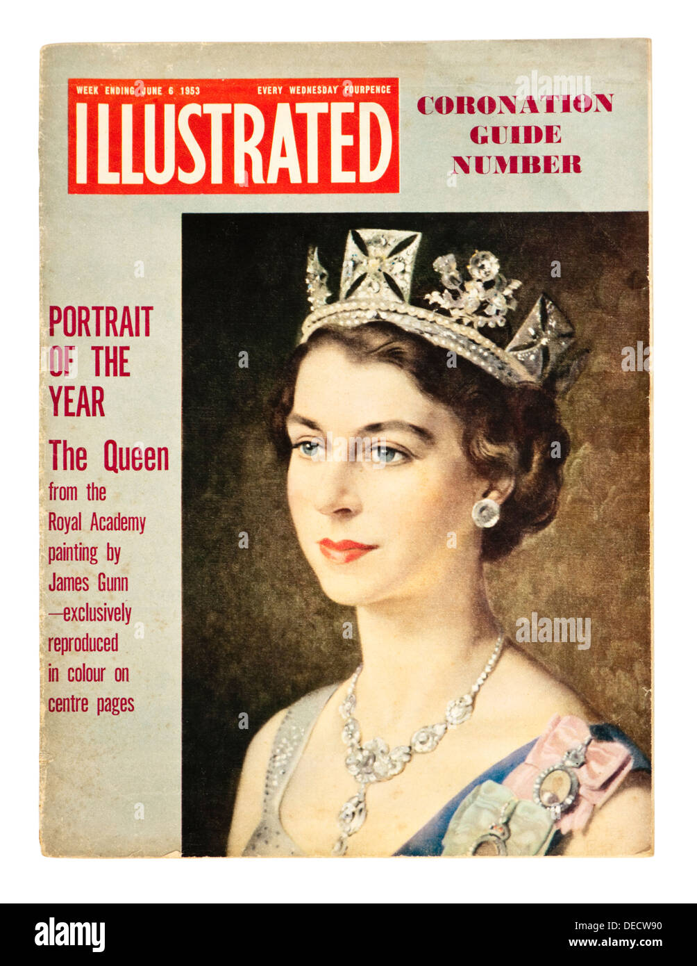 6th June 1953 Special Souvenir Edition of 'Illustrated' magazine to celebrate the Coronation of Queen Elizabeth II - Stock Image