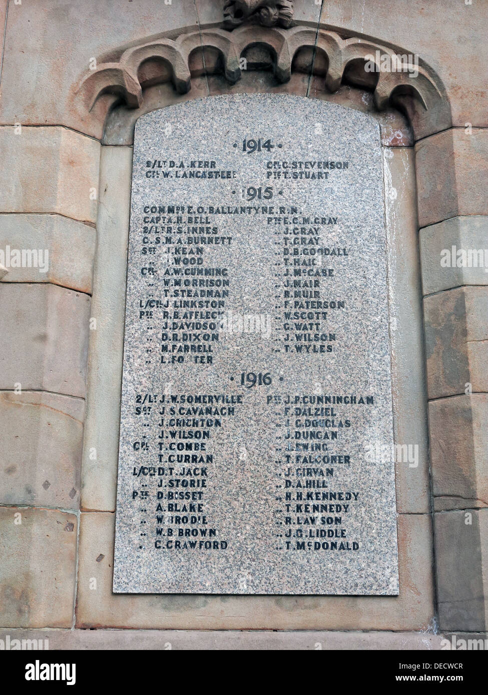 Inscriptions on Dalkeith War memorial 1914-19, Midlothian,Scotland,UK - List of men - Stock Image