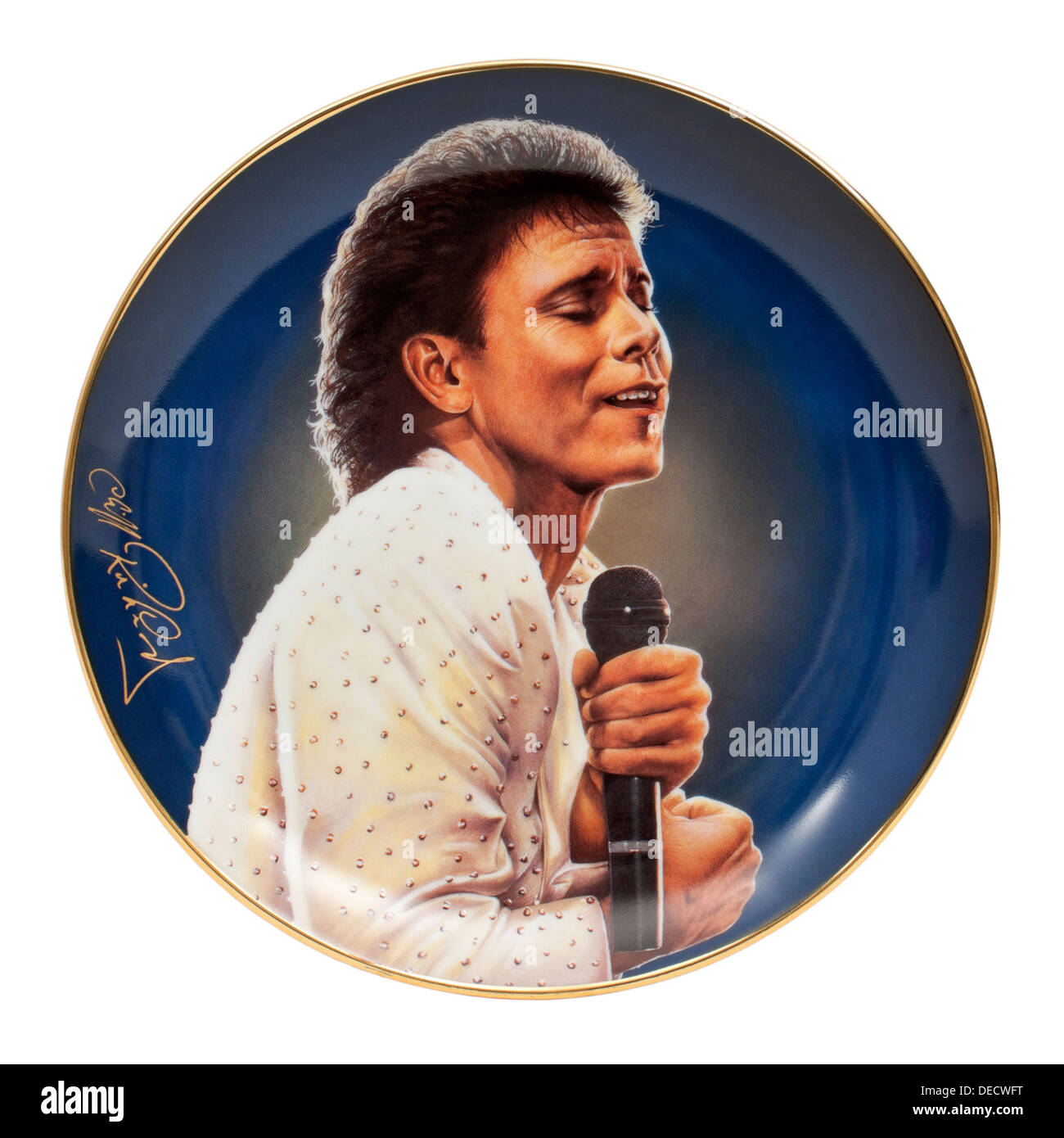 'A Glittering Performance' from the 'Forty Glorious Years' series of 12 porcelain plates of Cliff Richard by Simon Mendez - Stock Image